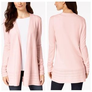 Charter Club Pink Open Front Cardigan Sweater